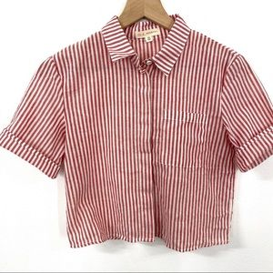LA Hearts Red + White Striped Collared Crop Shirt